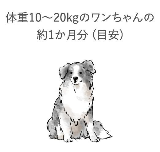 体重約10~20kgのワンちゃんの約1ヶ月分(目安)