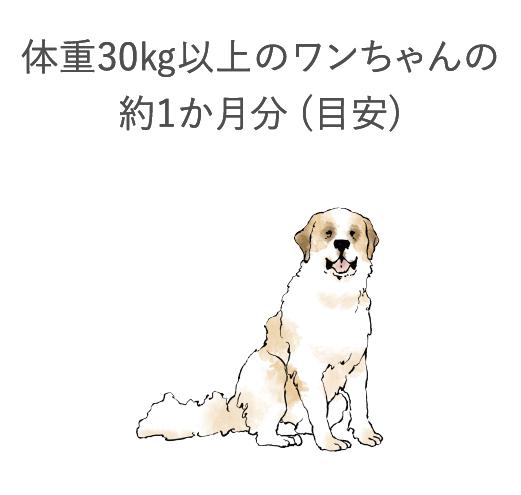 体重約30kg以上のワンちゃんの約1ヶ月分(目安)